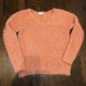 Pink Rose v neck fuzzy sweater